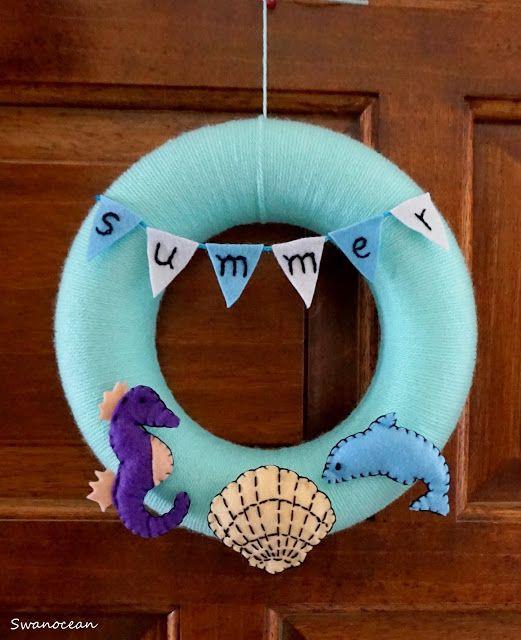 Swanocean: Summer ocean themed wreath-Καλοκαιρινό στεφάνι με θέμα την θάλασσα