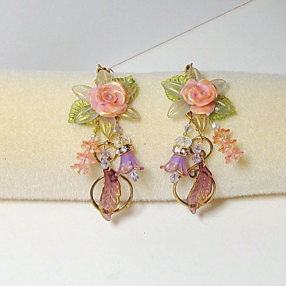HandmadeDangleEarringsColdPorcelainRosesCrystalsAcrylic by CheriesPottery, $35.00 on Etsy. Free shipping.