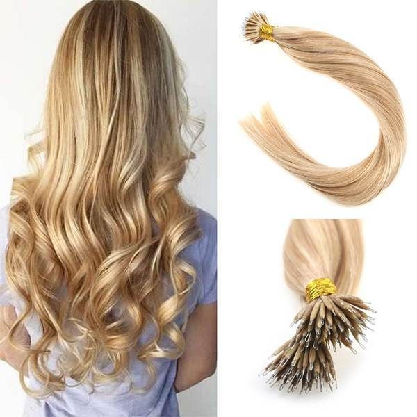 Pre Bonded Nano Ring Human Hair Extensions Honey Blonde with Bleach Blonde #27/613