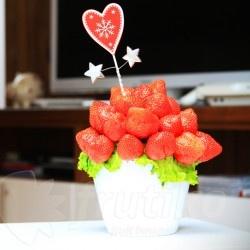 Jahodová kytice připravovaná z těch nejsladších a nejčerstvějších jahod. Česrtvé jahody naaranžované do krásné kytice každého potěší a nabízí sladké překvapení i krásný vzhled. Originální a zdravá pozornost plná vitaminů s donáškou zdarma je ideální jako překvapení pro vašeho partnera či partnerku, dárek k narozeninám, k výročí i jiné významné události.