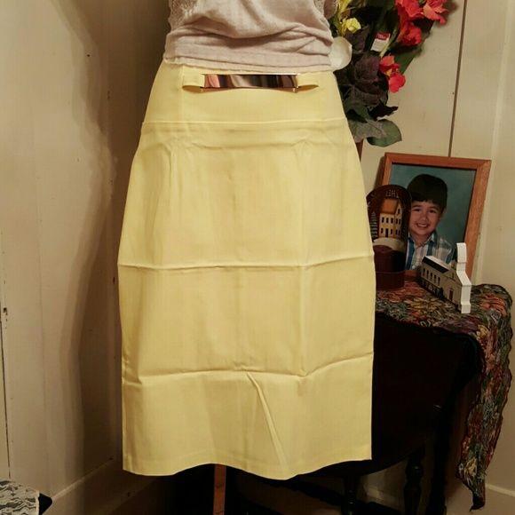 "SALEVIVIENNE GRACE NYC LEMON YELLOW SKIRT 3X Made in NY. Vivienne Grace 75% Rayon, 21% Nylon, 4% Lycra. Wide waist band, Zips in back. BRASS FAUX belt. 27"" Length. Vivienne Grace. Skirts Midi"