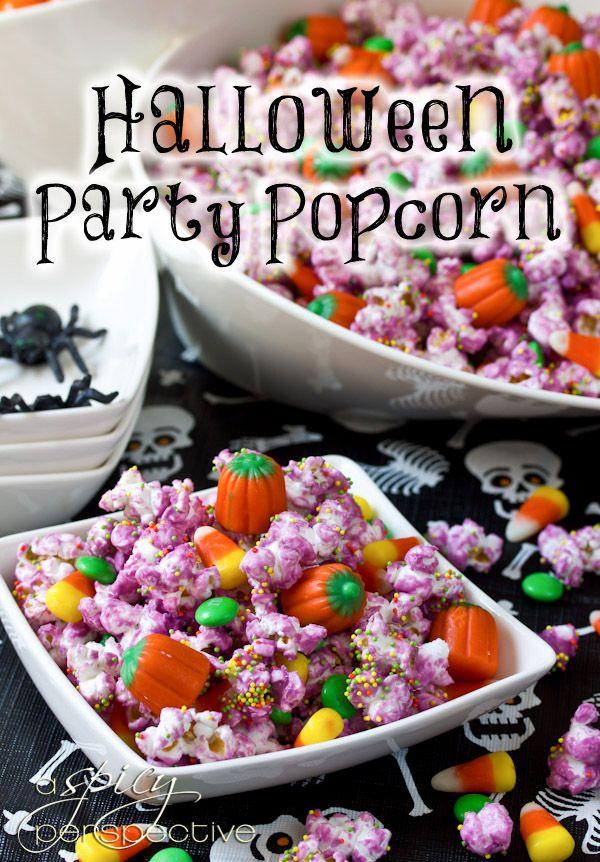Halloween Party Popcorn    ASpicyPerspective.com #Halloween #Recipes #Popcorn
