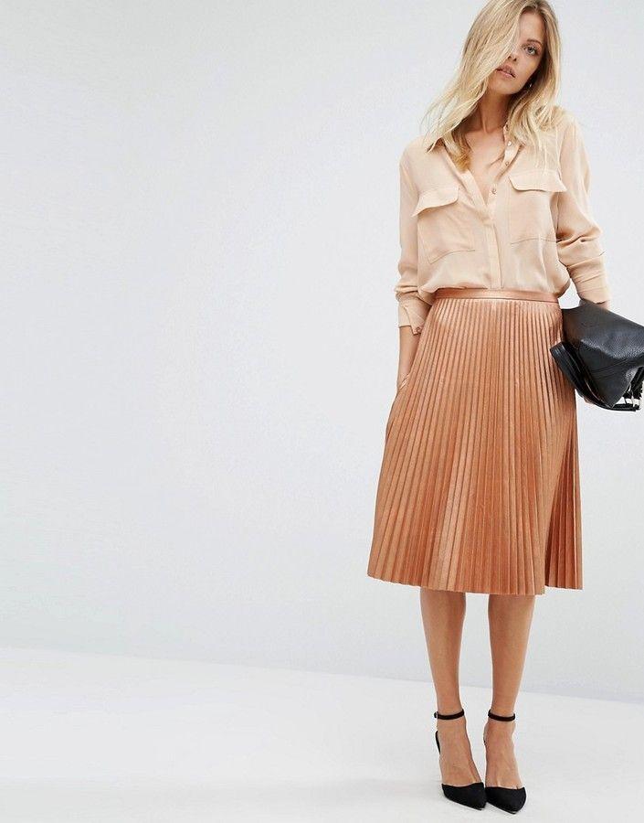 BOSS Orange By Hugo Boss Bronze Pleated Midi Skirt