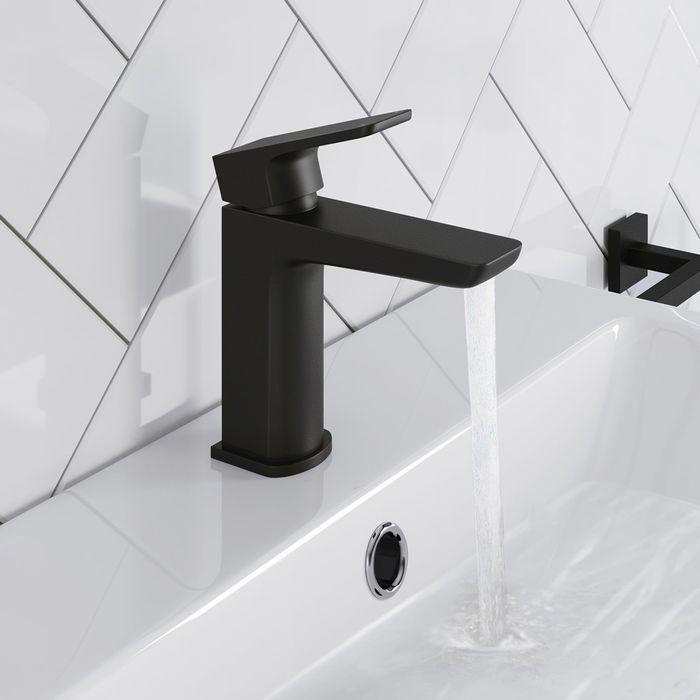 cube matte black sink mixer tap black