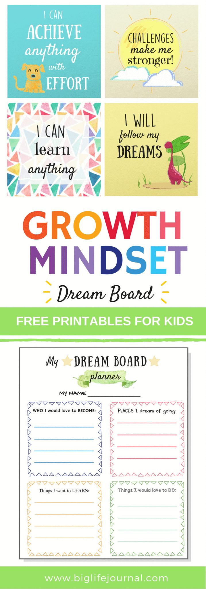 Free growth mindset printables for kids to help them create their dream (vision) boards.