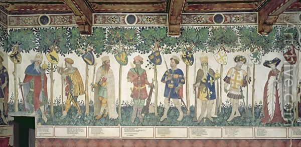 The Nine Worthies and the Nine Worthy Women detail of Julius Caesar Joshua King David Judas Maccabeus King Arthur Charlemagne Godfrey de Bouillon and Delphine - Giacomo Jaquerio