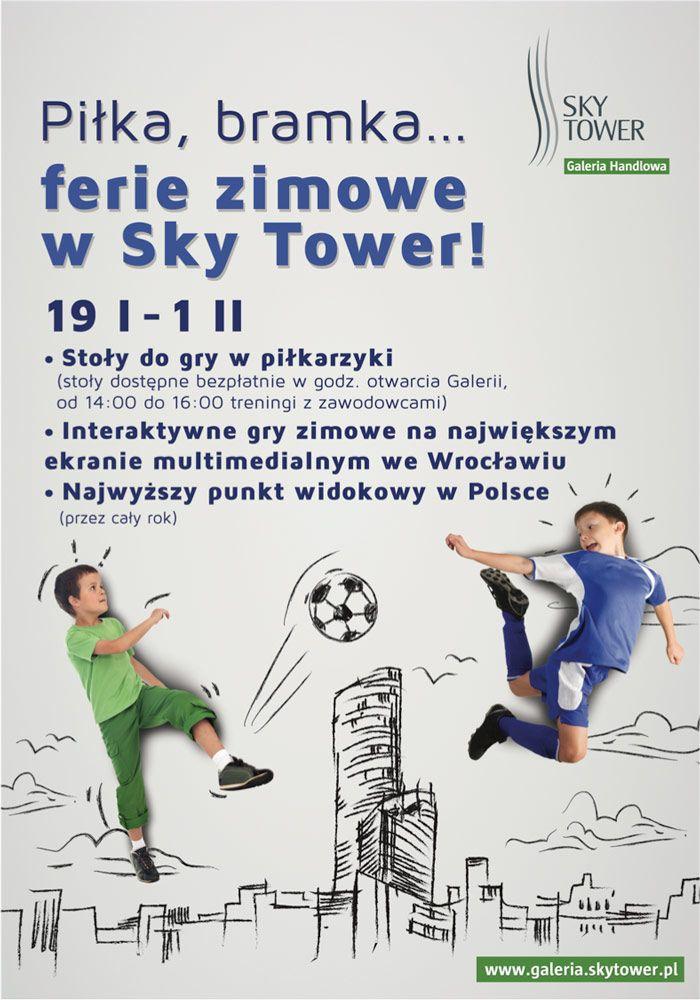 Galeria Handlowa SKY TOWER przygotowała specjalne atrakcje na ferie.  Od 19 stycznia do 1 lutego zapraszamy dzieci i młodzież na bezpłatne treningi kultowych piłkarzyków. Przez całe ferie wszyscy chętni mogą korzystać z ośmiu stołów do gry w piłkę stołową ustawionych na parterze Galerii.  http://galeria.skytower.pl/ferie-2015.html