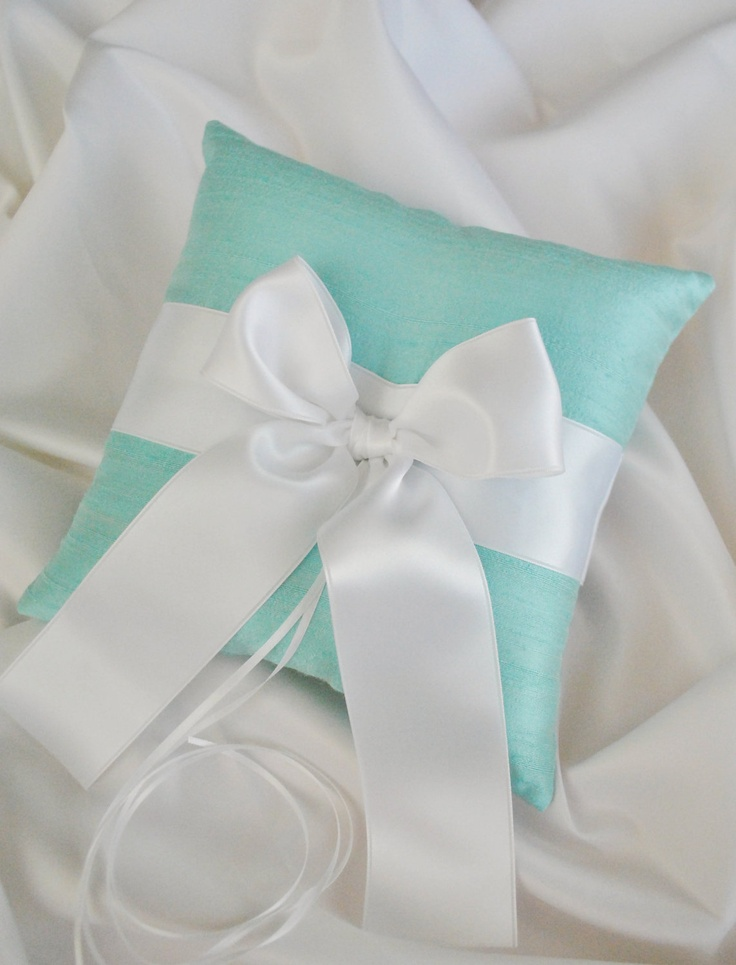 ring bearer pillow (turquoise pillow & black ribbon) (Bride)