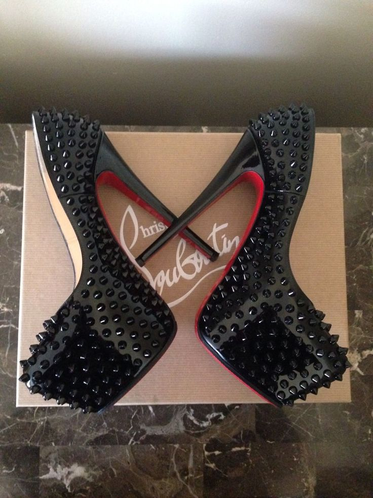 Christian Louboutin Heels (Pre-owned Black Leather Daffodile Spikes Designer High Heel Platforms)