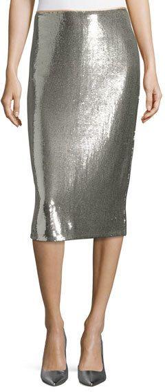 Diane von Furstenberg Sequined Midi Pencil Skirt