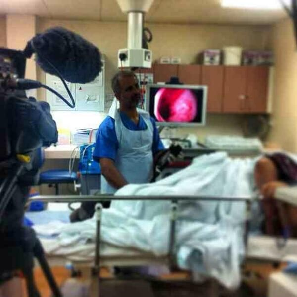 Filming a procedure on the endoscopy ward