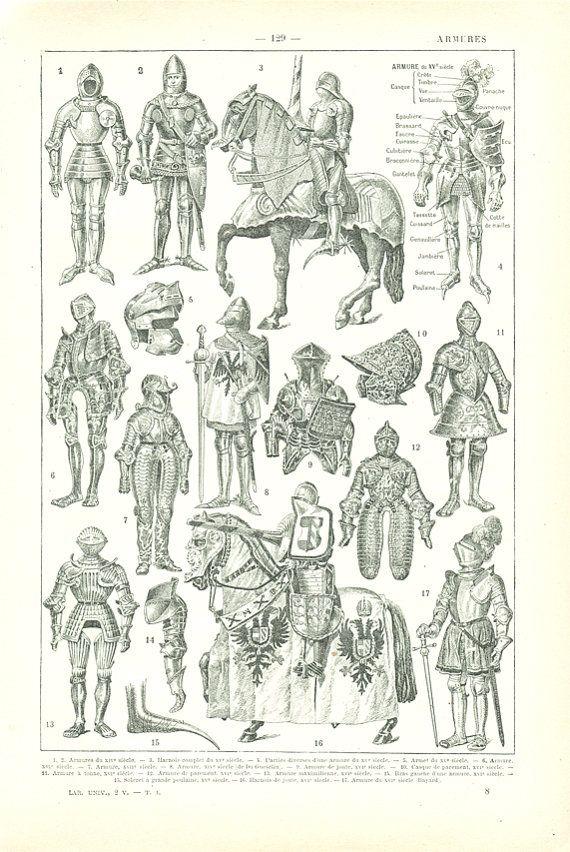 Aquí es un antiguo 1922 impresión mostrando diversos tipos de trajes o armadura, que viene de un diccionario francés. Esta impresión vintage muestra trajes típicos de la armadura usada por los caballeros a pie o a caballo a través de los años e incluye un diagrama con los nombres de cada parte de un traje típico.  La parte de atrás muestra varios artículos de diccionario, ilustrados con grabados más pequeños.  Esta ilustración vintage trajes medievales franceses se vería preciosa enmarcado…