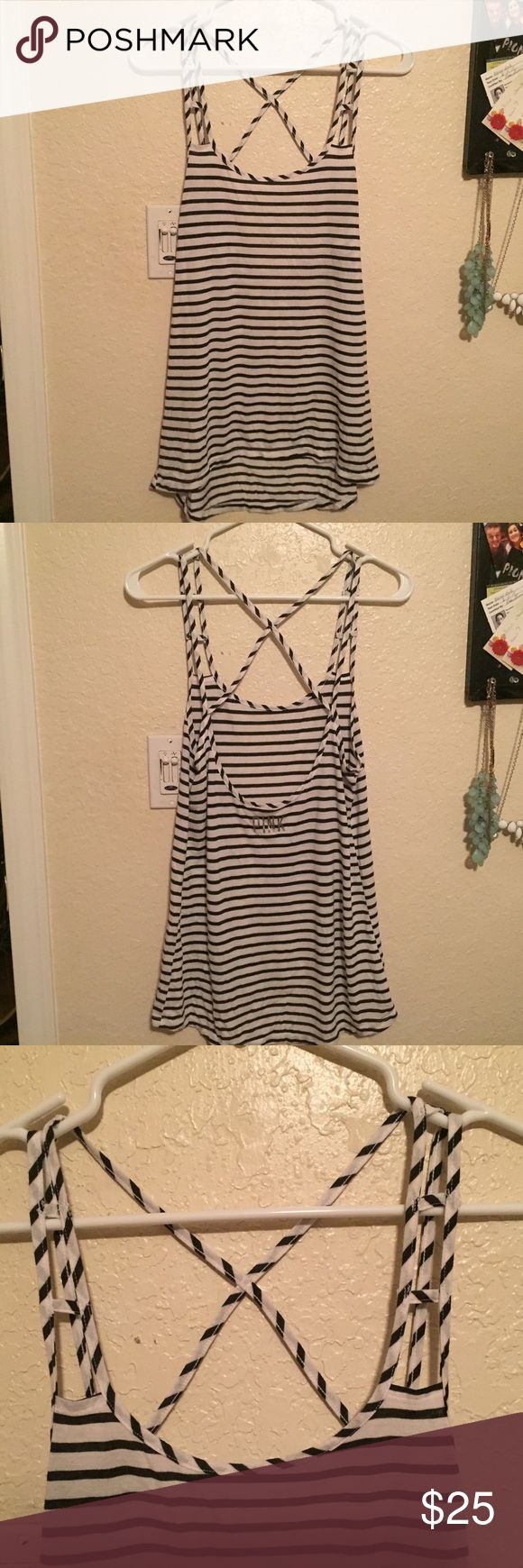 Stripped tang top PINK Victoria secret stripped tang top. Great with leggings and a sports bra. Willing to talk on price. PINK Victoria's Secret Tops Tank Tops