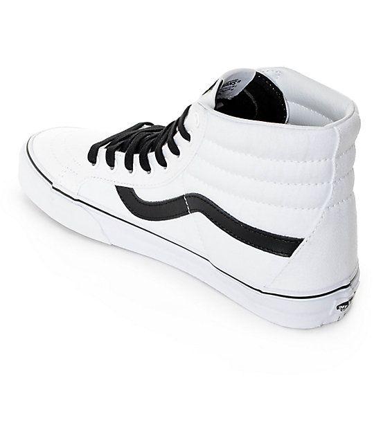 Vans Sk8-Hi Reissue True White & Black Skate Shoes (Mens) 8