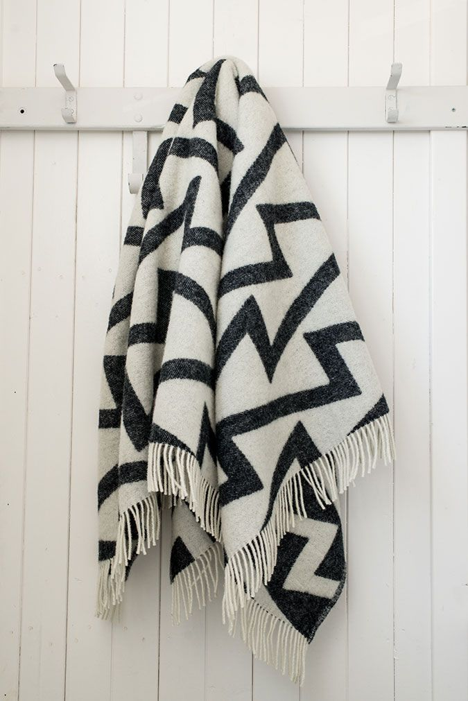 Manon SELECTED // Forestry blanket Fringe black & white. Made of 100% New Zealand wool. Available at www.manongarritsen.com