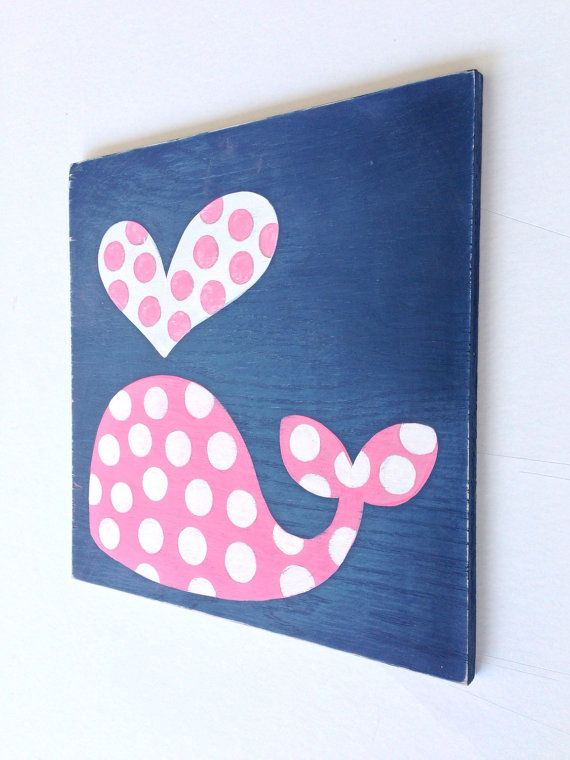 Hand Painted Polka Dot Whale on Wood, Navy Blue and Pink Nursery Art, Nautical Wall Art, Girls Nautical Nursery, Kids Bathroom Art, Whale