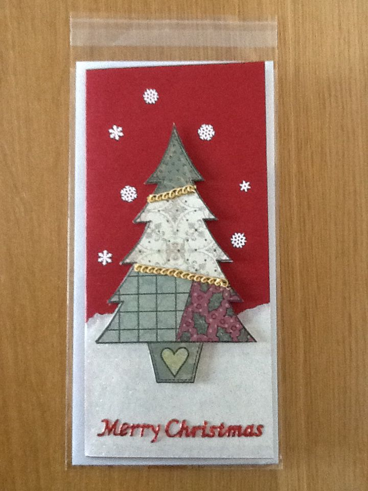 A Woodware patchwork stamp Christmas tree.