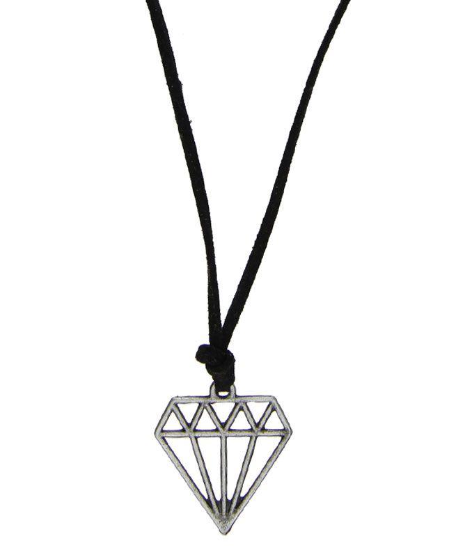 Gargantilha regulável preta com pingente de diamante