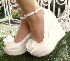 Wedding , Wedding Shoes, Bridal Wedge Shoes,Bridal Shoes, Bridal Platform Wedges, Bridal Wedge Shoes, Ivory Wedding Shoes, Ivory Lace Wedges