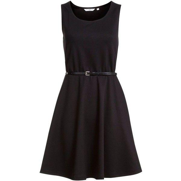 Black Belted Skater Dress ($10) ❤ liked on Polyvore featuring dresses, black, little black dresses, studded waist belt, skater dress, belted skater dress and belted dresses