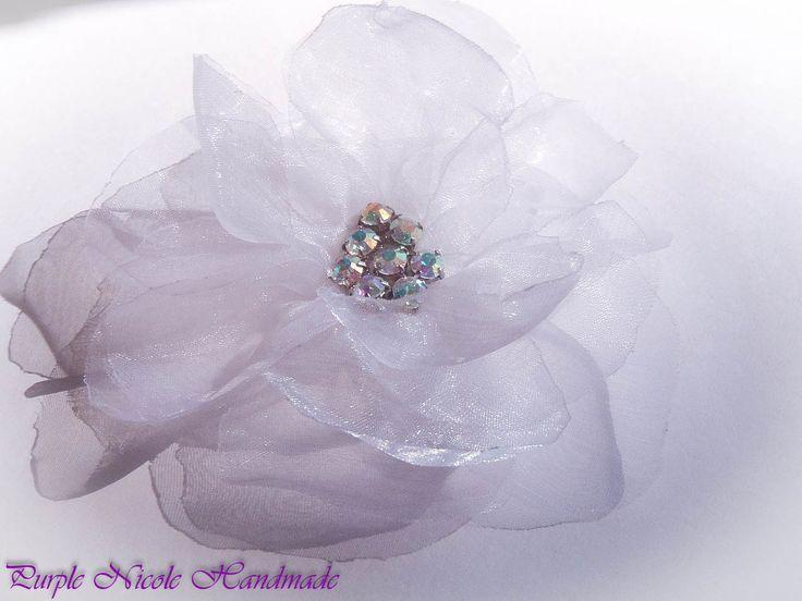 Mariko - Handmade Bridal Flower by Purple Nicole (Nicole Cea Mov). Materials: organza, rhinestones.
