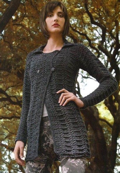 gilet 15.   Crochet plaisir over-blog.  Crochet cardi.  Graph pattern saved to Evernote