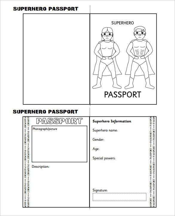 Free Passport Template For Kids Eiffel Tower Pattern Use The