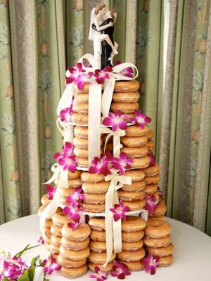 Doughnut Wedding Cake and Coffee  \\\///  Great idea for wedding party and helpers during  the morning of, when getting everything ready.