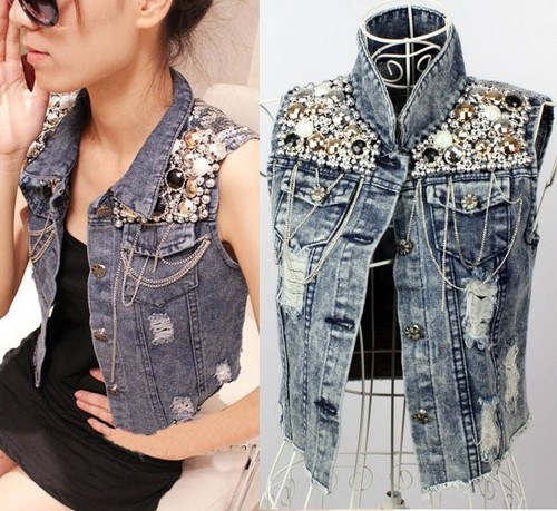 Hot Cowgirl Punk Jacket Retro Beaded Sequined Distressed Denim Jacket Jeans Vest