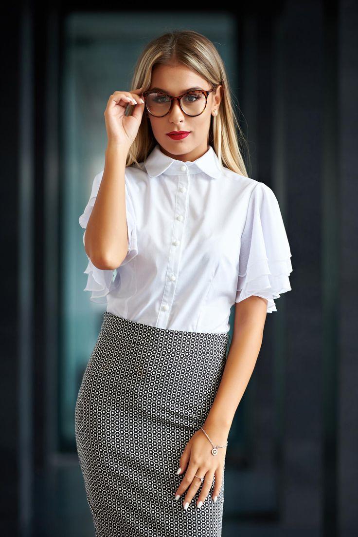 Comanda online, Camasa dama PrettyGirl alba office cu volanase la maneca. Articole masurate, calitate garantata!