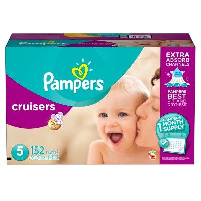 Pampers Cruisers Diapers One Month Supply Pack Size 5 (152 ct), White