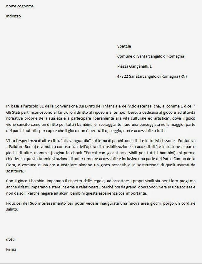 Parchi per tutti: Lettera fac-simile richiesta giochi inclusivi