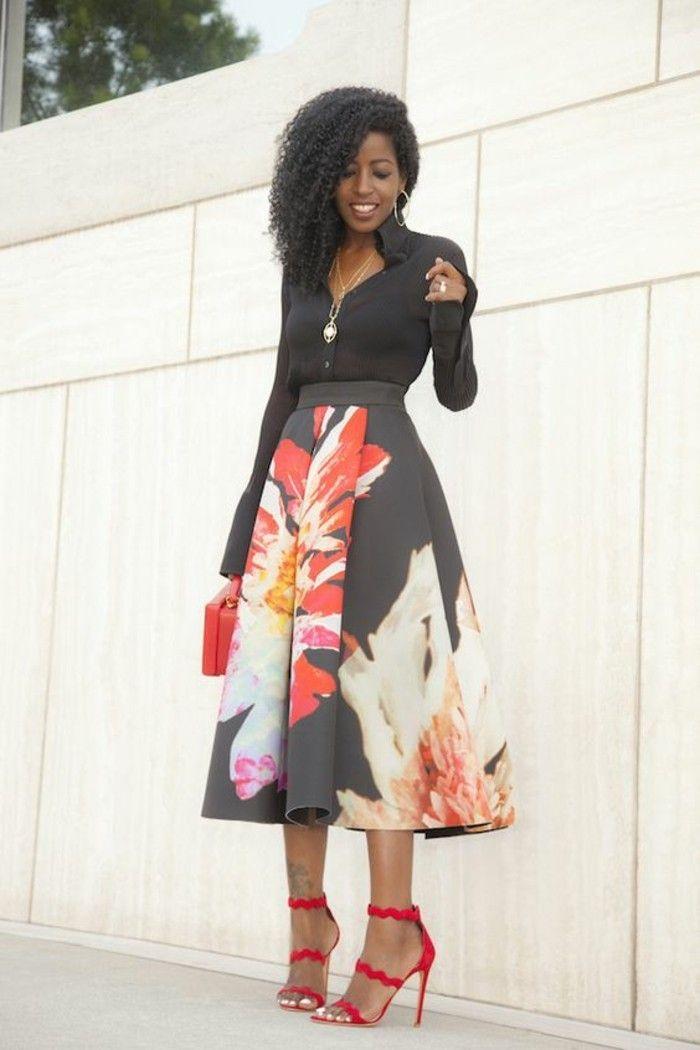 longue-jupe-taille-haute-des-grandes-fleurs-sur-fond-noir