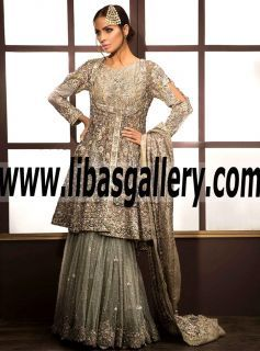 Sensational Bridal Gharara Dress features awesome and astonishing embellishments for Wedding and Special Occasions. Feast your eyes on this elegant gharara in store #IVYCouture #onlineshop #onlineshopping #onlinestore  #UK #USA #Canada #Australia #SaudiArabia #Norway #Dubai #Bahrain #Kuwait #Norway #Sweden #NewZealand #Austria #Switzerland #Germany #Denmark #France #Ireland #Mauritius #Scotland #Netherlands 💗It's time to Sparkle. www.libasgallery.com