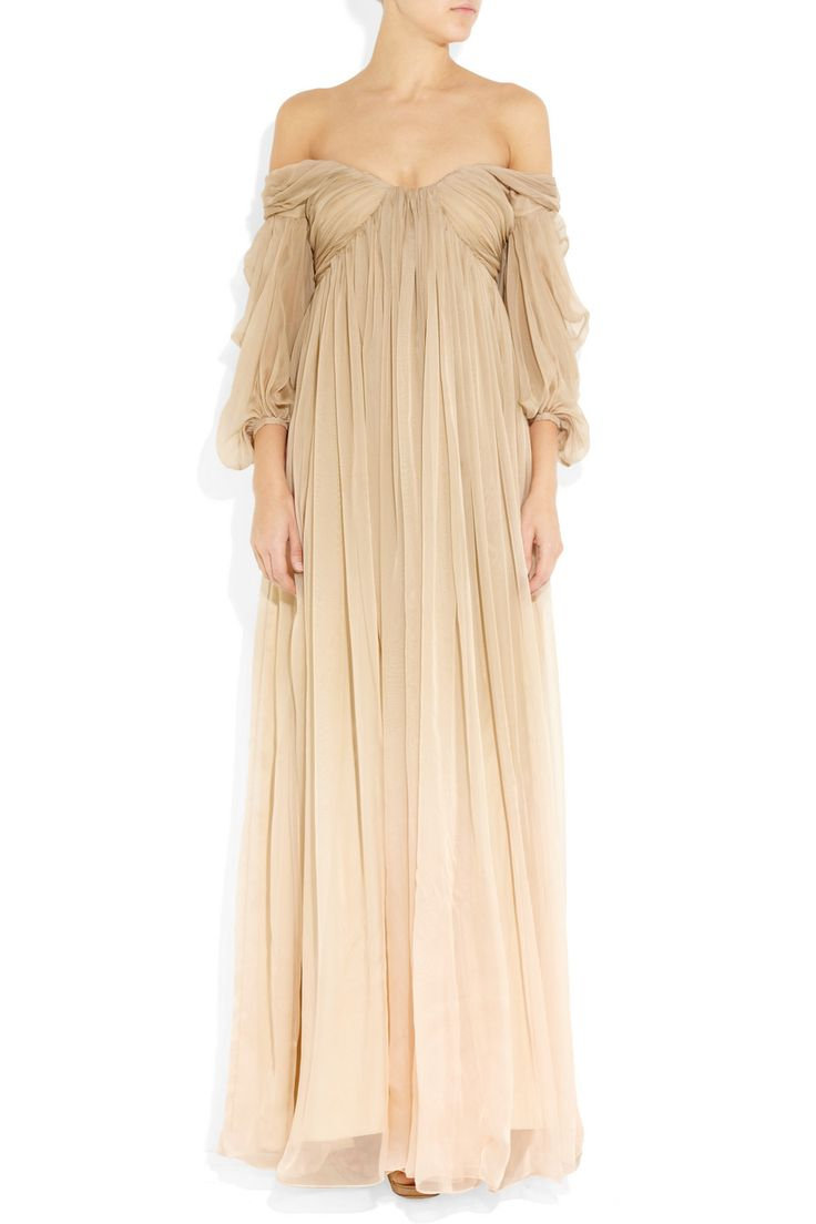 Reminded me a bit of a antique nightgown.lol.But I love it.I think it would look good in an iridescent dark color silk chiffon,as well.