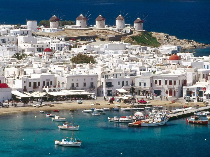 The beautiful ile of Mykonos, Greece, my favorite stop on our Greece tour.
