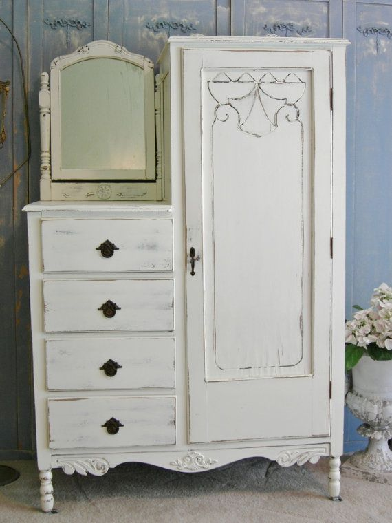antique dresser armoire chifferobe shabby chic by. Black Bedroom Furniture Sets. Home Design Ideas