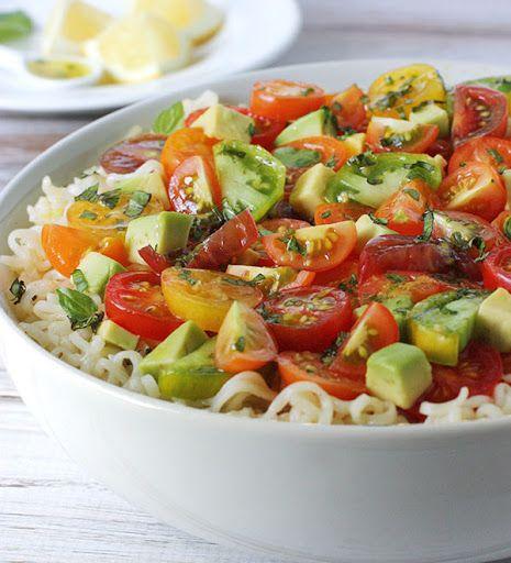 Avocado & Cherry Tomato Ramen Noodle Bowl with Lemon Basil Vinaigrette Recipe on Yummly. @yummly #recipe