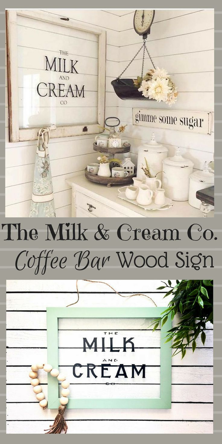 "Decorate your kitchen with our Framed Glass Sign for a delightfully vintage inspired look. Vinyl design has been used for ""The Milk And Cream Co"" on the glass surrounded by an MDF wood frame. It hangs by a twine for an especially rustic appeal. #wood #windows #afflink #kitchendesign #coffee #coffeebar #rustic #rustickitchen #rusticfarmhouse #farmhouse"