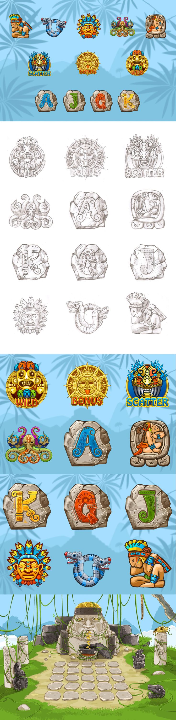 "Development of graphic design for the game slot-machine ""Aztec"""