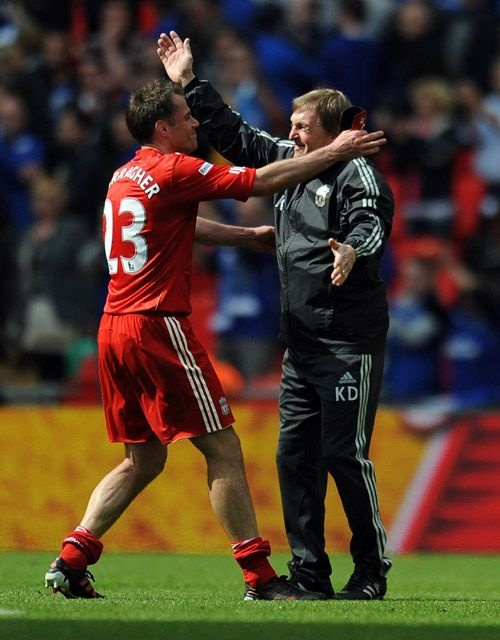 Kenny Dalglish and Jamie Carragher celebrate our Wembley win