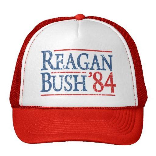 Retro Bush Reagan 84 Election Mesh Hats
