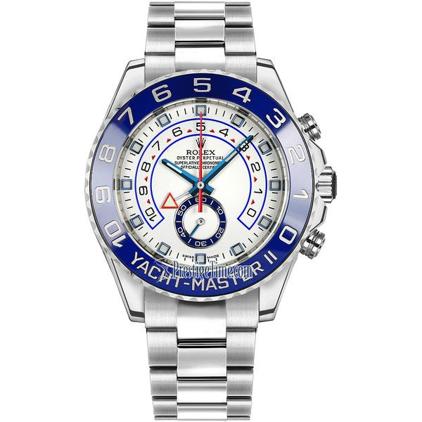 Rolex Yacht-Master II 44mm 116680 White Watch (21,520 CAD) ❤ liked on Polyvore featuring men's fashion, men's jewelry, men's watches, stainless steel, mens white watches, rolex mens watches and stainless steel mens watches