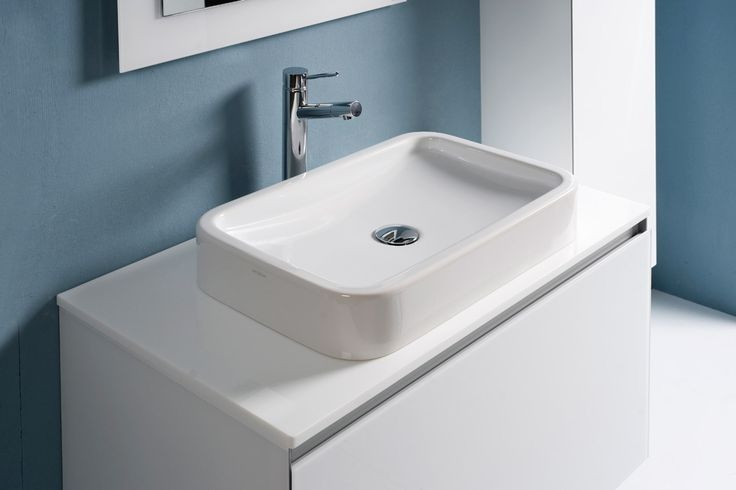 Modern countertop bath sink for white bath vanity by Artelinea / Domino Collection