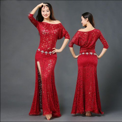 Oriental-Dance-Belly-Dance-Costume-Suits-Club-Stage-One-piece-Skirt-Dress-Lace