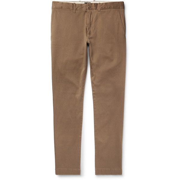 J.Crew 484 Slim-Fit Stretch-Cotton Twill Chinos ❤ liked on Polyvore featuring men's fashion, men's clothing, men's pants, men's casual pants, mens chino pants, j crew mens pants, mens slim fit chino pants, mens slim pants and mens twill pants