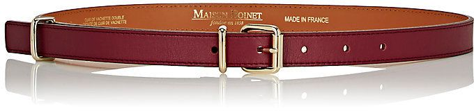 Who says a belt must be brown or black?  BURGUNDY!  Maison Boinet Women's Nappa Leather Skinny Belt-BURGUNDY