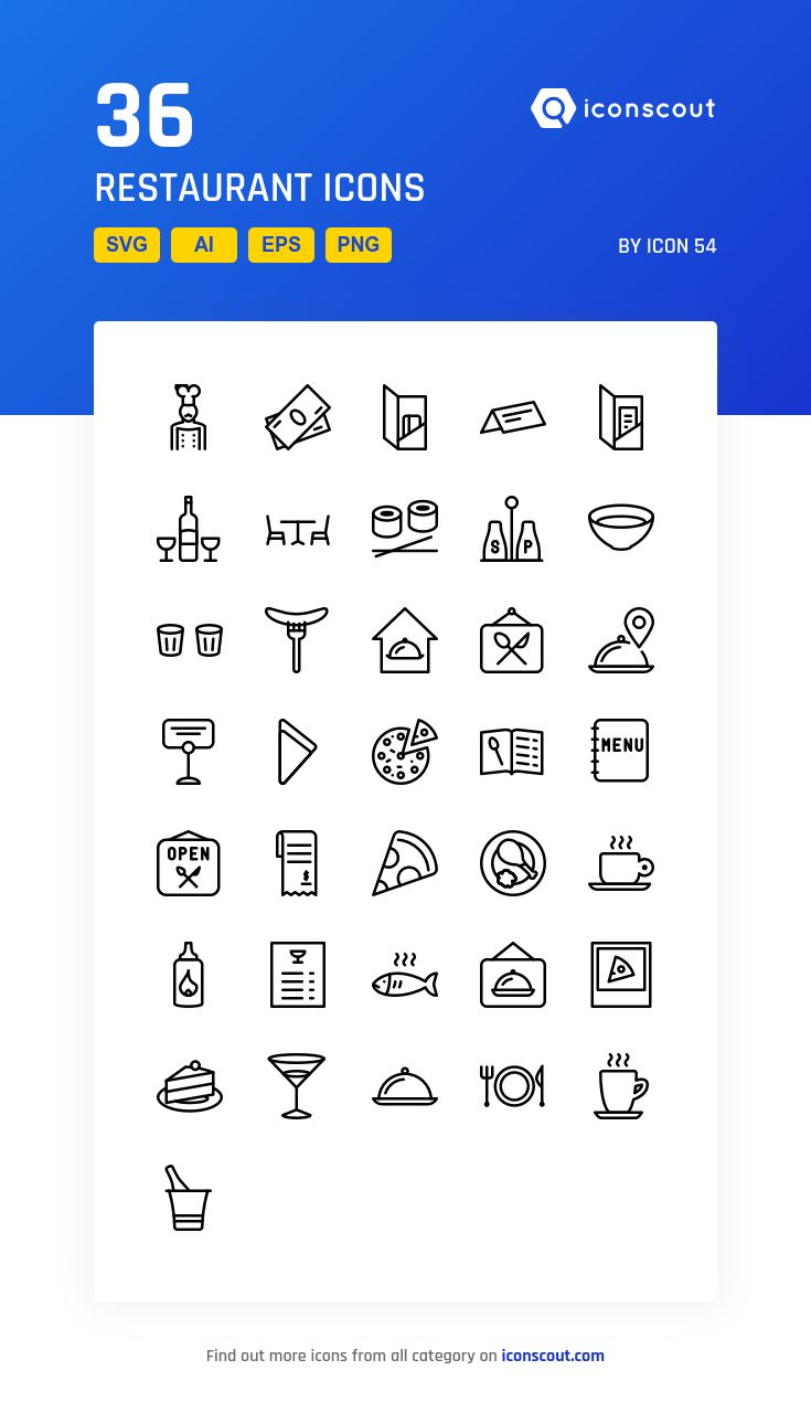 Restaurant   Icon Pack - 36 Line Icons