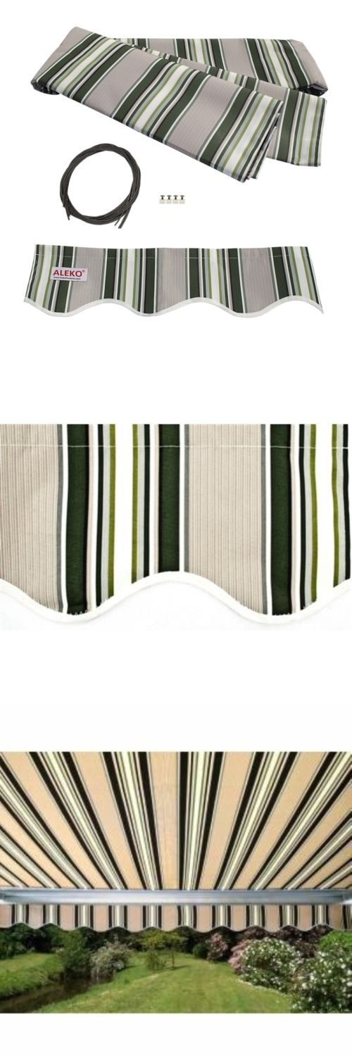 Awnings and Canopies 180992: Aleko Fabric Replacement For 13X10 Ft Retractable Awning Multistripe Green Color -> BUY IT NOW ONLY: $70 on eBay!
