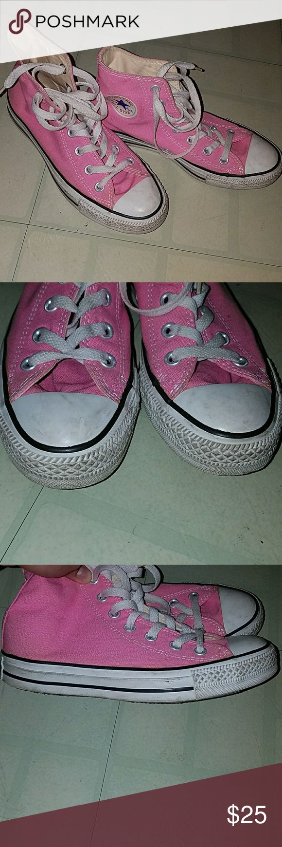 High top converse Pink high top converse. In very good condition, the front and sides are a bit dirty but nothing crazy. They were hardly worn only indoors as seen from the picture showing the bottom of the shoes are very clean. Doesn't come with original box but can send in another converse box.   Offers welcome but please no lowballs. Converse Shoes